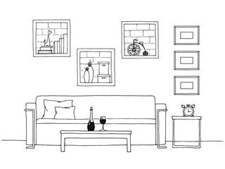 Table in front of the sofa. Brick wall with shelves. Vector illustration of a sketch style.