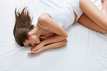 Mattress. Woman Sleeping On Comfortable Bed