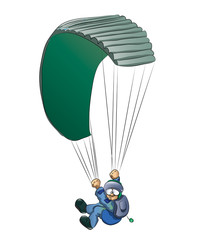 skydiver and parachute