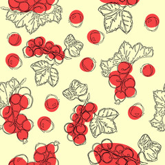 Red currant fruit seamless vector pattern. White background with red currant berries. Best for design of food packaging juice breakfast, cosmetics, tea, detox