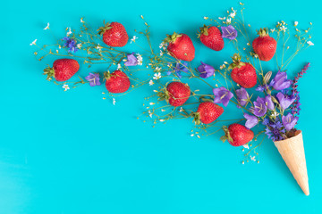 Flat lay, top view sweet food floral background.