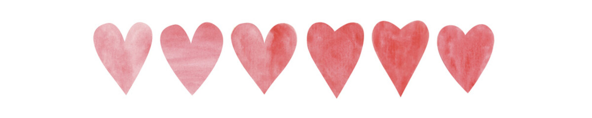 Hand drawn red watercolor heart on white isolated background. Concept. Collage