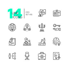 CEO - set of line design style icons