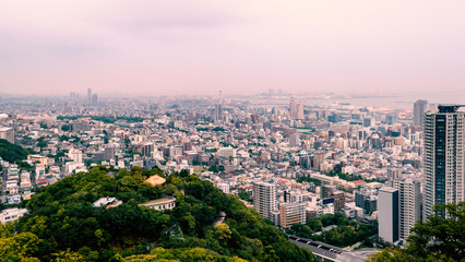 Kobe cityscape , Japan : View from Mt.Rokko