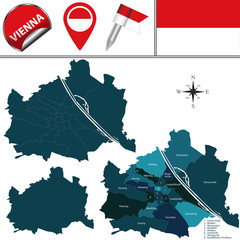 Map of Vienna, Austria with Named Districts