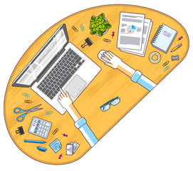 Office employee or entrepreneur work desk workplace with hands and PC notebook and diverse stationery objects for work, top view. All elements are easy to use separately. Vector illustration.