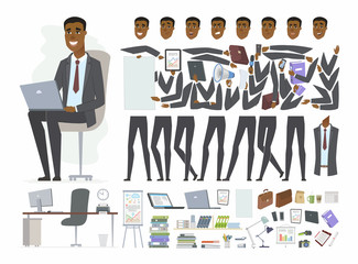 African businessman - vector cartoon people character constructor