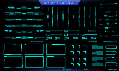 HUD Green Futuristic Elements Basic Commnication Concept Set. Abtract Header Status Bar, Side Frames, Screen, Arrow Sign Vector And Illustration.