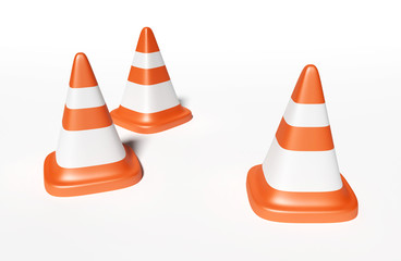 3d road cone rendering illustration.