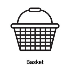 Basket icon vector sign and symbol isolated on white background, Basket logo concept