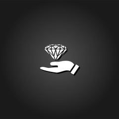 Hand and diamond icon flat. Simple White pictogram on black background with shadow. Vector illustration symbol