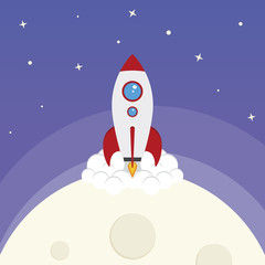 Cartoon Vector Space Rocket
