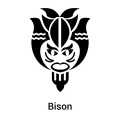 Bison icon vector sign and symbol isolated on white background, Bison logo concept