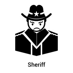 Sheriff icon vector sign and symbol isolated on white background, Sheriff logo concept