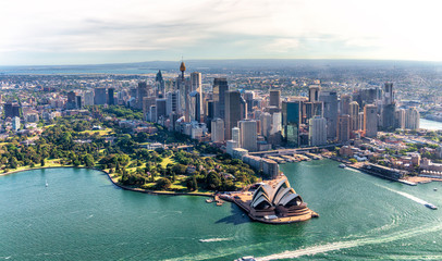 Aluminium Prints Sydney Aerial view of Sydney Harbor and Downtown Skyline, Australia