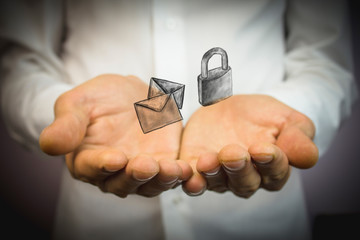 Mail envelope and lock icon