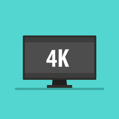 Screen tv with 4K video technology. Led television display 4K. Vector stock.