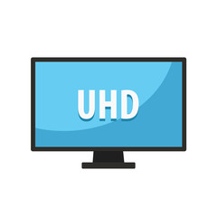 Screen tv with UHD video technology. Led television display UHD. Vector stock.