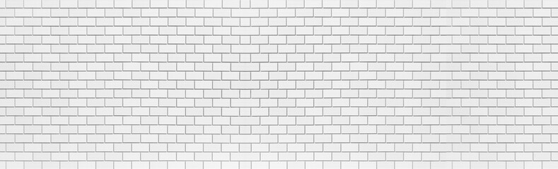 Panorama of White brick wall seamless background