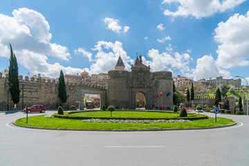 Puerta de Bisagra or Alfonso VI Gate in city of Toledo, Spain.
