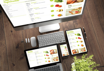 wooden desktop devices online supermarket responsive design