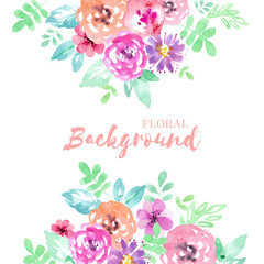 Watercolor background with flowers in quick style