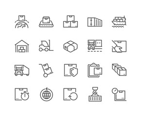 Simple Set of Package Delivery Related Vector Line Icons. Contains such Icons as Warehouse, Worldwide Shipping, Package Return and more. Editable Stroke. 48x48 Pixel Perfect.