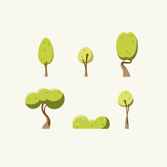 Flat green trees vector illustration set.