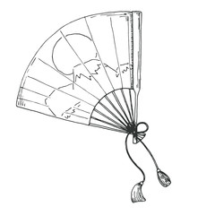 Sketch of the fan from the east. Vector illustration