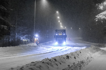 Traffic in snow storm. Sotkamo, Finland.