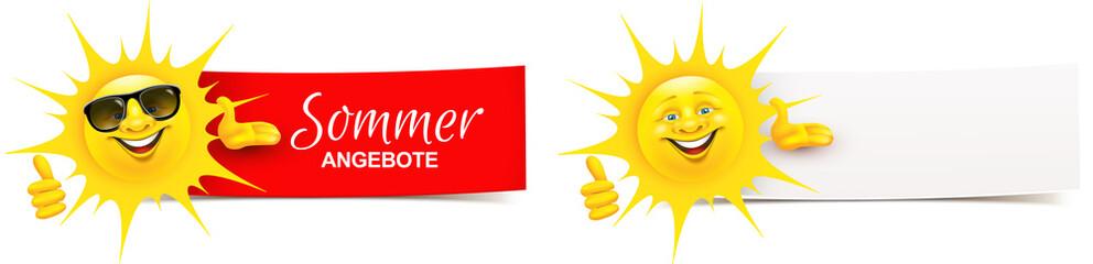 Cartoon Sonne präsentiert mit Daumen hoch Geste - Sommer Angebote Banner Set