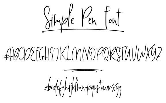 Ballpen lettering vector alphabet. Uppercase and lowercase handwritten letters. Modern calligraphy, vector illustration.