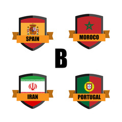 Set of Football Badge vector Designed illustration. Soccer tournament 2018 Group B with Word Spain,Moroco,Iran,Portugal.