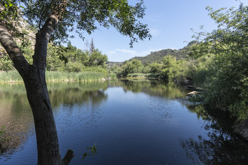 Century Lake at Malibu Creek State Park in the Santa Monica Mountains near Los Angeles, California.