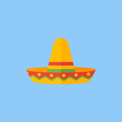 Mexican sombrero hat isolated on blue background. Flat style icon. Vector illustration.