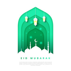Islamic beautiful design template. Mosque with lanterns on white background in paper cut style. Eid Mubarak greeting card, banner, cover or poster. Vector illustration. EPS 10