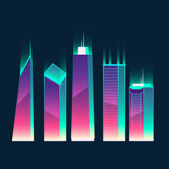Vector set of modern buildings in cartoon style, synthwave or retrowave neon colors. Urban skyscrapers for town exterior, architecture. Residential construction for cityscape concept