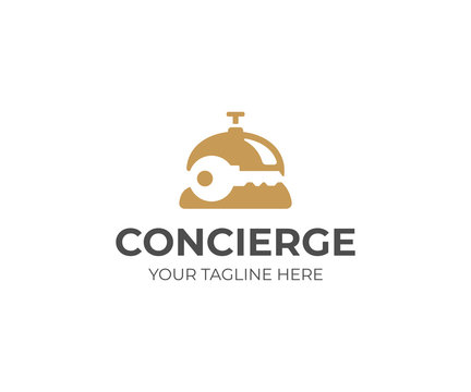 Concierge service logo template. Reception bell and key vector design. Concierge bell logotype