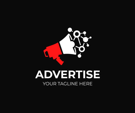 Digital marketing logo template. Megaphone and viral marketing vector design. Loudspeaker logotype