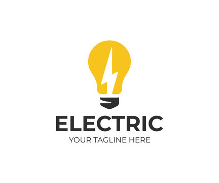 Light bulb and lightning bolt logo template. Electrical vector design. Lightbulb and flash logotype
