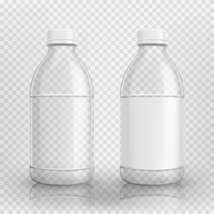 Empty realistic plastic bottle. Vector illustration with 3d transparent bottle with blank sticker.