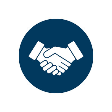Business handshake icon contract agreement flat symbol in circle. Vector illustration