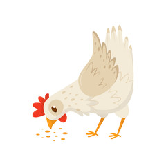 Hen eating seeds. Domestic fowl with bright red scallop and orange feet. Flat vector icon of farm bird. Poultry farming theme