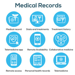Telemedicine and Health Records Icon Set with Caduceus, file folders, computers, etc