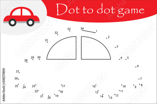 car in cartoon style dot to dot game coloring page education