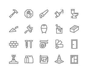 Simple Set of Construction Related Vector Line Icons. Contains such Icons as Welding, Crane, Hammer, Nails and more. Editable Stroke. 48x48 Pixel Perfect.