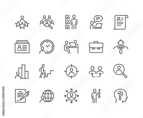simple set of head hunting related vector line icons contains such icons as job interview