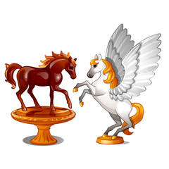 A set of two statues of graceful horses isolated on white background. Vector illustration.
