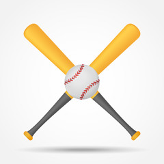 Crossed baseball bats and ball isolated on white background. Vector illustration.