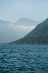 Blue Ocean Water and Mountains in Montenegro along the Coast